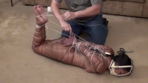 Super tying, strappado and wrist and ankle bondage for sexually excited bare angel HD 1080p