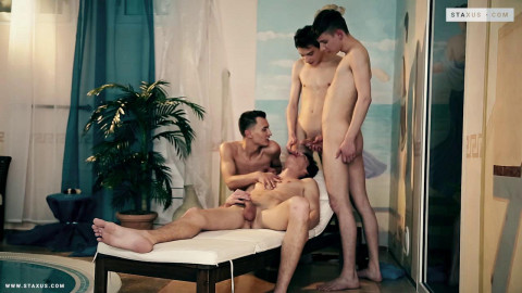 Twinks In Love, Sc.4: Filthy Pool-Boy Gets Fucked & Creamed By Three Horny Twinks!
