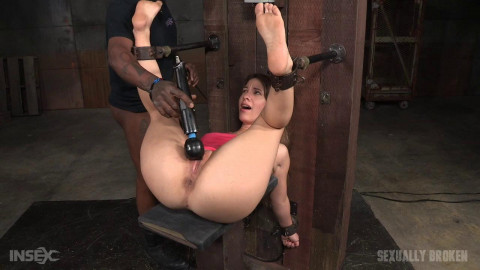 Bound & fucked by huge cock, finished off with fucking machine