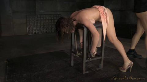 Busty porn star Krissy Lynn bound and throat trained