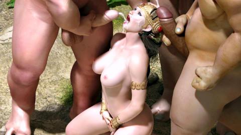 3D sex orgy orcs fuck princess