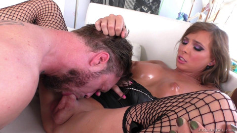 Sexy Brunette Tranny in Black Fishnets Gets Fucked in Her Ass by Her Man