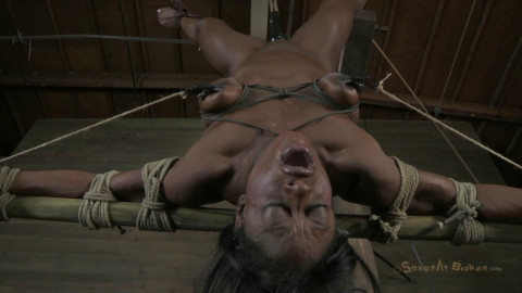 Professional Body Builder, bound, oiled, hung upside down, throat fucked, made to cum! Ashley Starr