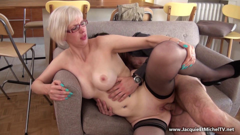 blond mature slut in glasses fucked in orgy at home