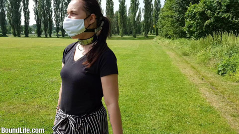 Gagged outdoors!