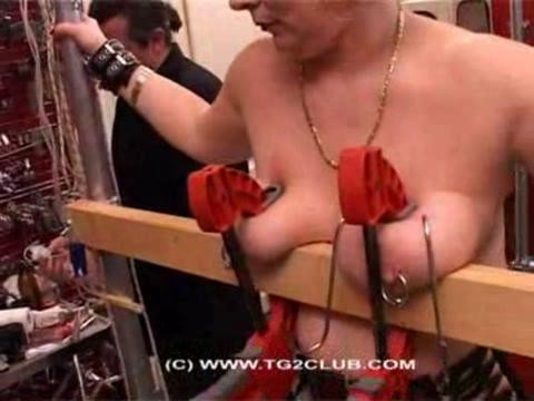 Blonde women tits hooks and press