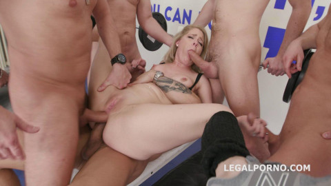 7on1 Brutal Gangbang with Lisey Sweet & Double Anal