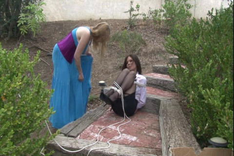 High-Heeled Secretary Ashley Renee Bound Outdoors by Lorelei