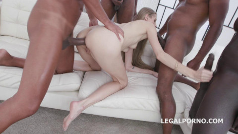 Tall girl gangbanged by 4 white then 4 black with double anal
