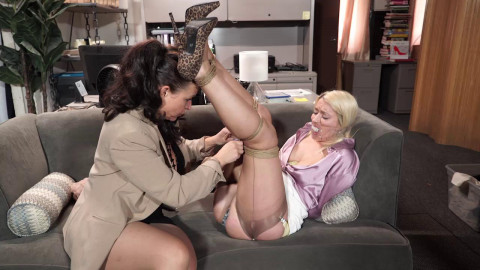 Satin Clad Secretary Tied Up Against Her Will - HD 720p