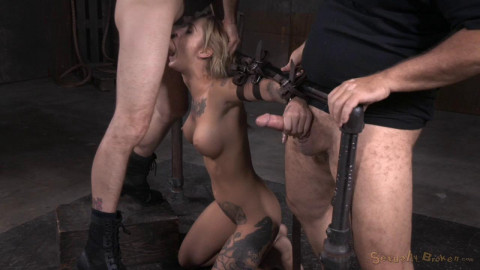 Toned and tattooed Kleio Valentien belt bound and destroyed with drooling deepthroat and rough sex!