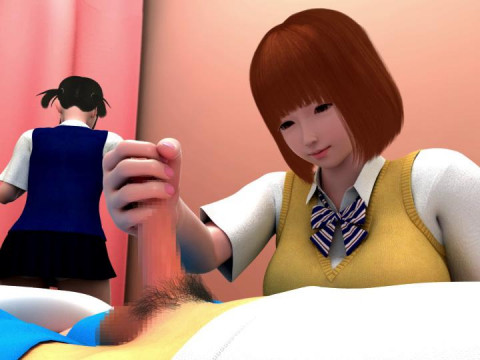 Miho-and infirmary-Rena 3D