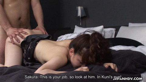 Sakura tastes a stranger s jock during the time that her paramour watches