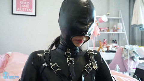 Super tying, domination and torment for hot dark brown in latex HD 1080p