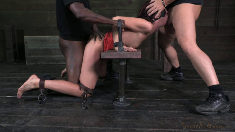 Tall sexy Milf bound is custom metal and leather bondage - HD 720p