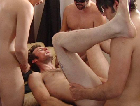 Bareback Orgy With Gag
