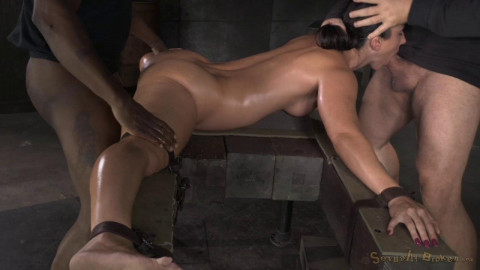 On the splits and fucked by two stud
