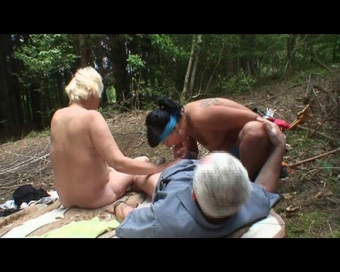 Old couple in a threeway