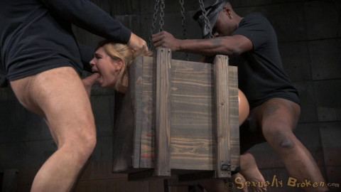 Little Alina West blindfolded bound in a box and fucked hard from both ends by huge cock!