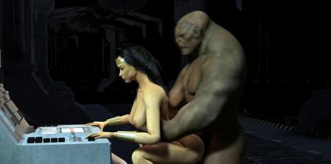 Wonderwoman Fucks Huge Troll Dick
