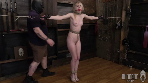 Tight restraint bondage, spanking and pain for hawt stripped blond part1 HD 1080p