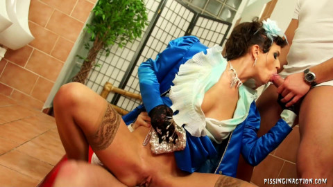 Princess In Blue Outfit Is Drenched In Piss