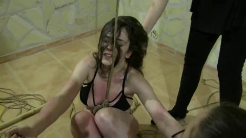 Tight restraint bondage, strappado and domination for lewd slavegirl HD 1080p