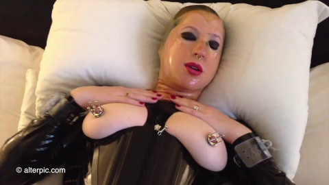 Bondage, domination and torture for very horny bitch in latex