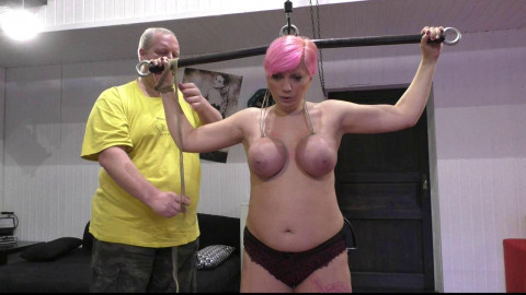 Nova Pink - Hung by her Rubber Bound Breasts onto the Sybian