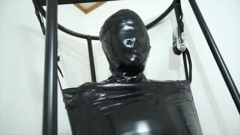 Bondage, encasement and punishment for hawt whore in latex