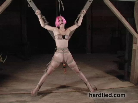 And after shes lashed to a cross, her bound breasts go purple