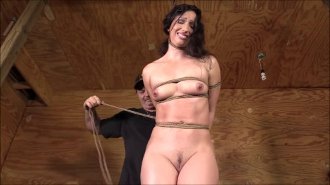 Intense tying, strappado and hog tie for hawt undressed dark brown Full HD 1080p