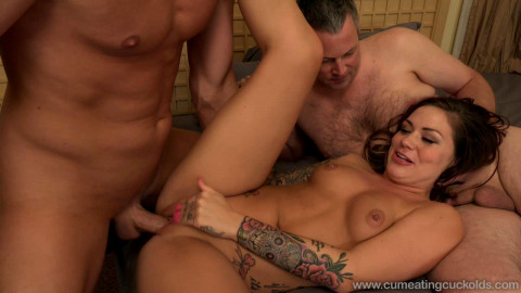 She caressed her husband, while I fucked lover