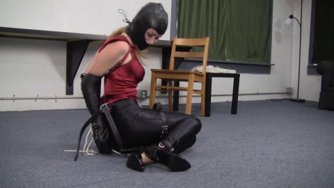 Madalynn Raye - Leather Hooded Secretary Bound in Disco Jeans