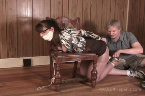 Elizabeth Andrews in - Nipple Clamped Kneeling Chair Tie