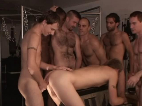 Interracial GangBang With Muscle Men