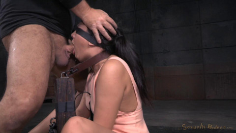 Cute brunette Paisley Parker blindfolded in strict bondage, vibrated while deepthroating BBC!