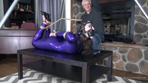 Arielle Lane - Purple Catsuit and a Strenuous Hogtie