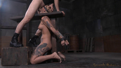 Tattooed blonde Kleio Valentien bound on sybian with drooling destroyed deepthroat