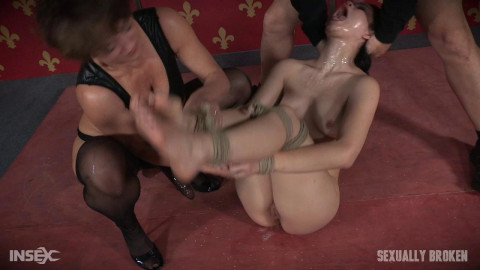 Sexy hot Asian Yhivi, rope bound, double fucked and deep throated.