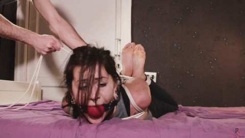 Tina Tickling In tie And Big Ballgag