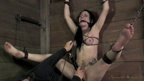 Bondage, pain and domination for nude dark brown