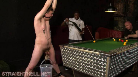 Vasia - Chained to pool table, undressed, smacked around