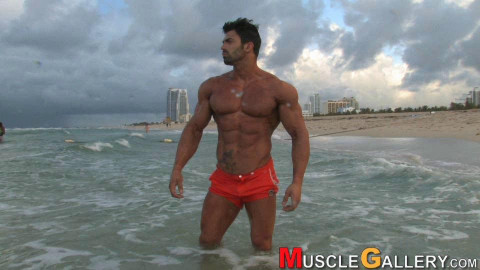Fitness model Sergi Constance poses for Musclegallery