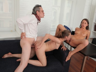 TrickyOldTeacher.com - Inga and her friend are struggling with their grade in their teachers class and will do anything