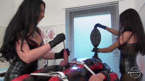 Femdom and Strapon Rubber Mistress Sounding in the Medical Room