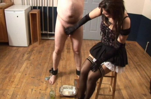 Femdom and Strapon Milk The Pig