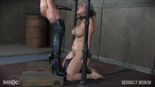 bdsm Angel Allwood is neck bound on a Sybian and throat fucked