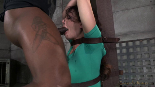 BDSM Sexy Sarah Shevon belted down and throatboarded