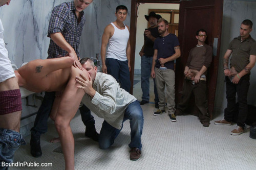 Gay BDSM Two boys get used and abused in a public restroom.